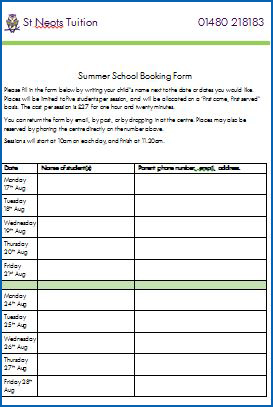 2015 SUMMER SCHOOL BOOKING FORM